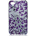 Bling Peacock Swarovski crystal cases for iPhone 4G - Purple
