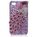 Bling Peacock Swarovski crystal cases for iPhone 4G - Rose