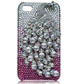 Bling Peacock Swarovski crystal cases for iPhone 4G - Silver