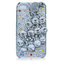 Bling Peacock Swarovski crystal cases for iPhone 4G - White