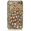 Bling Peacock Swarovski crystal cases skin for iPhone 4G - Gold
