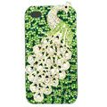 Bling Peacock Swarovski crystal cases skin for iPhone 4G - Green