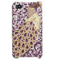Bling Peacock Swarovski crystal cases skin for iPhone 4G - Purple