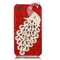 Bling Peacock Swarovski crystal cases skin for iPhone 4G - Red