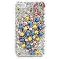 Bling Peacock Swarovski crystal cases skin for iPhone 4G - White