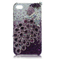 Swarovski Bling Peacock crystal cases for iPhone 4G - purple
