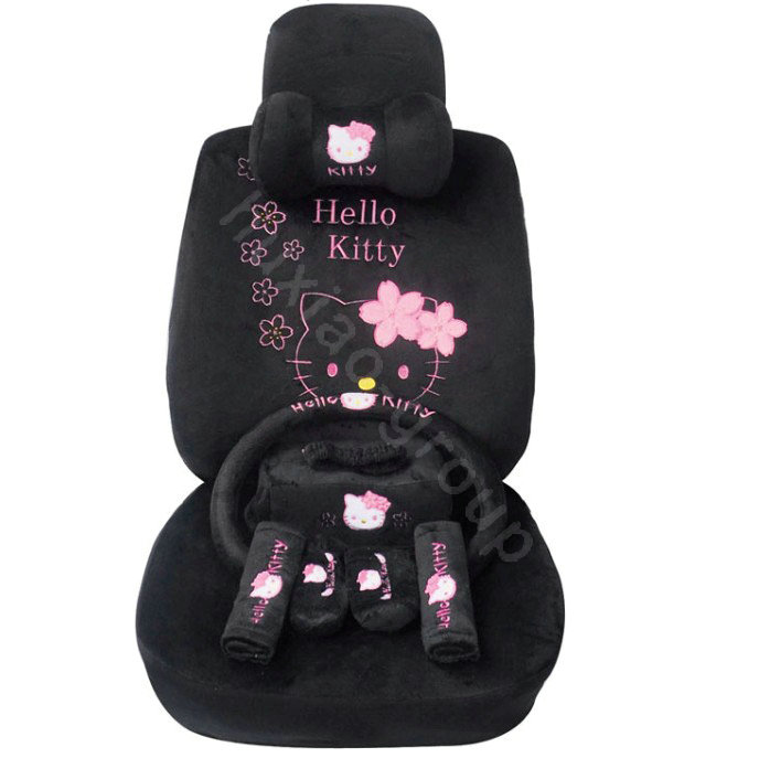 buy wholesale hello kitty oulilai car seat covers plush fabrics black car seat covers. Black Bedroom Furniture Sets. Home Design Ideas