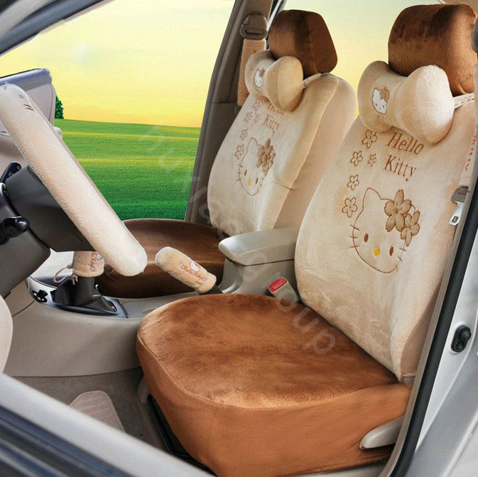 buy wholesale hello kitty oulilai car seat covers plush fabrics brown car seat covers. Black Bedroom Furniture Sets. Home Design Ideas