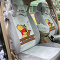 Winnie the pooh Universal Car Seat Covers Plush fabrics 19 Pieces - Gray