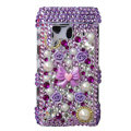 Bling 3D Flower Diamond Crystals Hard Cases Covers For Nokia N8 - purple