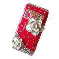 Bling Flowers Crystals Hard Plastic Cases Covers For Nokia N8 - Red