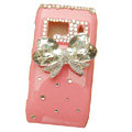 Bling bowknot Crystals Hard Plastic Cases Covers For Nokia N8 - Pink