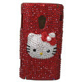 Hello kitty Bling Crystals Hard Cases Covers For Sony Ericsson X10i - Red