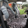 Winter Fleece Leopard Auto Seat Cushion Warm Plush Car Seat Covers - Gray