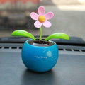 Flip Flap Solar apple Flower solar swinging flower solar toy gift car accessories - Blue
