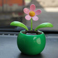 Flip Flap Solar apple Flower solar swinging flower solar toy gift car accessories - Green