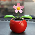 Flip Flap Solar apple Flower solar swinging flower solar toy gift car accessories - Red
