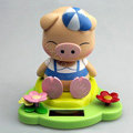 Solar doll pig solar swinging pig solar toy gift car decoration accessories - Blue