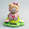 Solar doll pig solar swinging pig solar toy gift car decoration accessories - Pink
