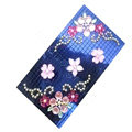 Flower 3D bling crystal cases covers for your mobile phone model - Blue EB002