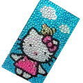 Hello kitty bling crystal cases skin for your mobile phone model - Blue