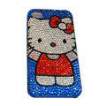 Bling covers Big Hello Kitty diamond crystal cases for iPhone 4G - Blue