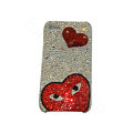 Bling covers Eye diamond crystal cases for iPhone 4G - Red