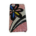 Bling covers Flower Rainbow diamond crystal cases for iPhone 4G - Black