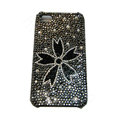 Bling covers Flower diamond crystal cases for iPhone 4G - Black