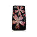 Bling covers Flower diamond crystal cases for iPhone 4G - Pink