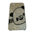 Bling covers Panda diamond crystal cases for iPhone 4G - White
