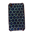 Bling covers Leopard Grain diamond crystal cases for iPhone 3G - Blue