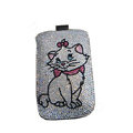 Luxury Bling Holster covers Ali Cat diamond crystal cases for iPhone 4G - White