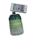 Luxury Bling Holster covers All diamond crystal cases for iPhone 4G - Green