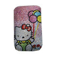 Luxury Bling Holster covers Balloon Hello Kitty diamond crystal cases for iPhone 4G - Pink