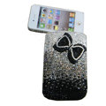 Luxury Bling Holster covers Bowknot diamond crystal cases for iPhone 4G - Black