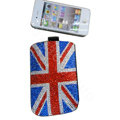 Luxury Bling Holster covers Britain Flag diamond crystal cases for iPhone 4G - Red
