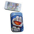 Luxury Bling Holster covers Cat Doraemon diamond crystal cases for iPhone 4G - Blue