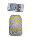 Luxury Bling Holster covers Leopard Grain diamond crystal cases for iPhone 4G - White