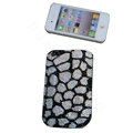Luxury Bling Holster covers Lump diamond crystal cases for iPhone 4G - White