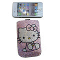Luxury Bling Holster covers Pink Hello Kitty diamond crystal cases for iPhone 4G - Pink