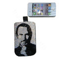 Luxury Bling Holster covers Steven Paul Jobs diamond crystal cases for iPhone 4G - Black
