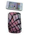 Luxury Bling Holster covers Stone Grain diamond crystal cases for iPhone 4G - Pink
