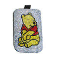 Luxury Bling Holster covers Winnie the Pooh diamond crystal cases for iPhone 4G - White