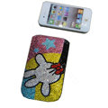 Luxury Bling Holster cover Minnie Mouse Foot diamond crystal cases for iPhone 4G - Pink
