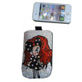 Luxury Bling Holster covers Beauty Girl diamond crystal cases for iPhone 4G - White