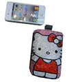 Luxury Bling Holster covers Big Hello Kitty diamond crystal cases for iPhone 4G - Red