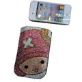 Luxury Bling Holster covers Cartoon X diamond crystal cases for iPhone 4G - Pink