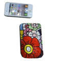Luxury Bling Holster covers Flower diamond crystal cases for iPhone 4G - Red