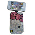 Luxury Bling Holster covers Hello Kitty Beard diamond crystal cases for iPhone 4G - Pink